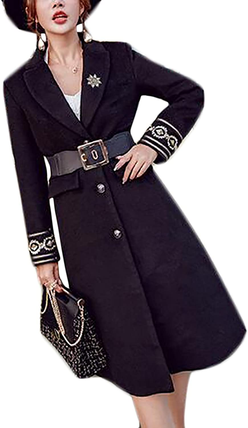CBTLVSN Womens Recio Lapel Long Sleeve Wool Blend Solid color Pea Jacket