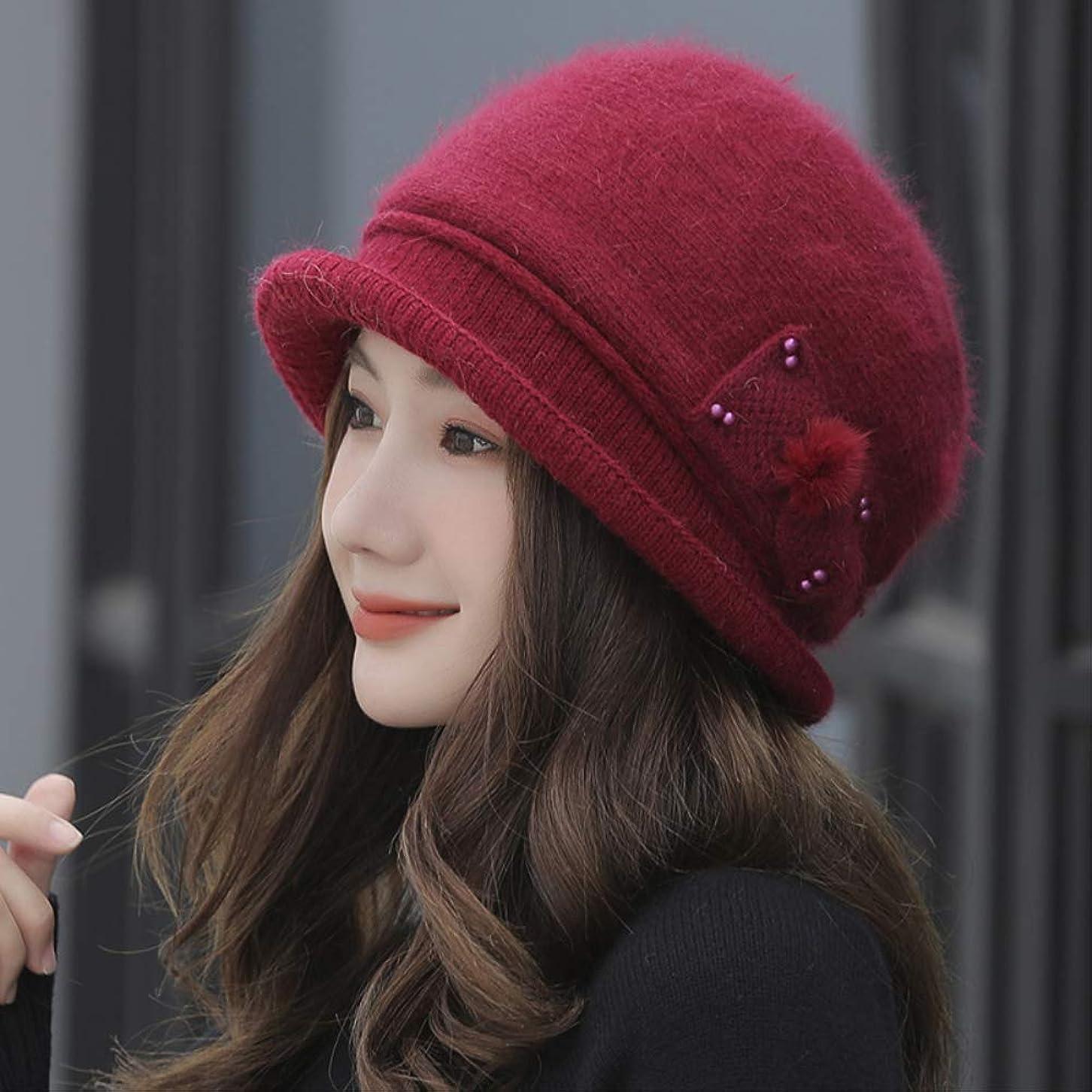 学習者サリーマーカー女性冬ニットウール帽子ファッション弓バケット帽子ママの帽子中年の厚く暖かいウサギ毛盆地キャップ
