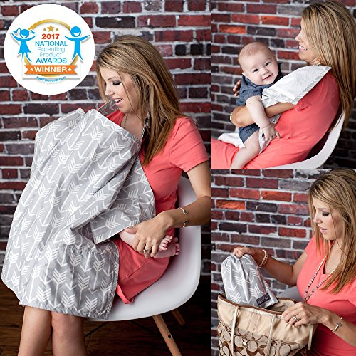 Nursing Cover with Sewn in Burp Cloth for Breastfeeding Infants | Free Matching Pouch- Best Apron Cover Up for Breast Feeding Babies | Covers Up Newborns in Public | Patented 2018 Nappa Winner- Arrow