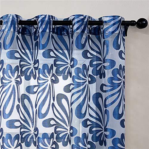 HYS - Paneles de cortina geométricos modernos para ventana de salón, dormitorio, cocina, ventana, azul marino, 300 cm de ancho x 280 cm de alto.