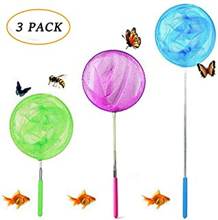 """JTEEY Kids Telescopic Butterfly Net Catching Bugs Insect Small Fishing nets Extendable from 6.8"""" to 34"""" Inch for Kids (3 Pack)"""