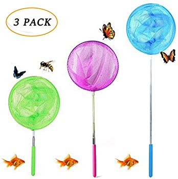 Evelyn Living Kids Extendable Butterfly Net Fishing Pole Mesh Stainless Steel Ideal for catching bugs Fish Insect