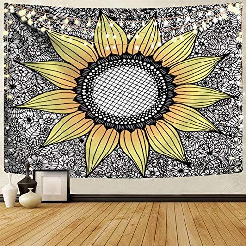 Bohemia Floral Mandala Tapiz de Alfombra de Pared Arte de Girasol Colgante de Pared Hogar Boho Decoración Dormitorio Telón de Fondo Yoga Manta de Playa 40x60 Pulgadas