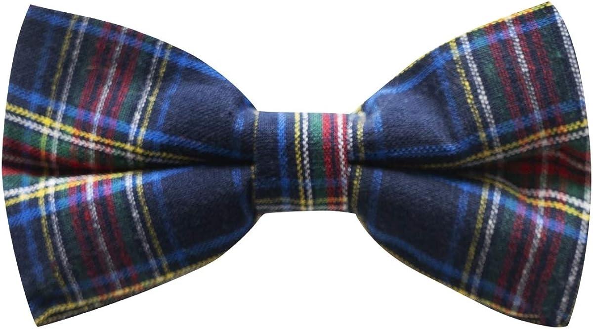 Traditional Navy Blue Tartan Bow Tie, Check, Plaid