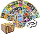 Pokemon Cards 50 Card Assorted Lot - Commons/Uncommons - Rares - Foils! Repack! Includes Golden Groundhog Treasure Chest Storage Box!