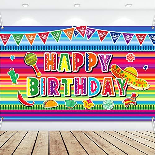 Fondo de Fotografía de Cumpleaños de Tema de Fiesta Mexicana Bandera de Cinco de Mayo Tema de Luau Fondo de Cabina de Fotos de Cumpleaños de Guitarra Cactus de México, 70,9 x 45,3 Pulgadas
