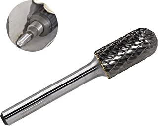 """YUFUTOL SC-5 Tungsten Carbide Burr Cylinder Shape with Radius End Double Cut Rotary Burr File(1/2"""" Cutter Dia X 1""""Cutter Length) with 1/4'' shank, 1pcs"""