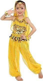 Girls Belly Dance Costume Set,Kids Halloween Costume Top Pants Jewelry Accessory