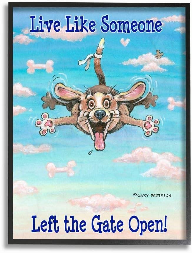Stupell Industries Gate Open Funny Cartoon Pet Dog Black Framed Wall Art, 16 x 20, Design by Artist Gary Patterson