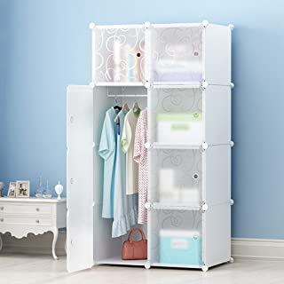 MEGAFUTURE DIY Portable Wardrobe Clothes Closet Modular Storage Organizer Space Saving Armoire Deeper Cube With Hanging Rod 8 cubes