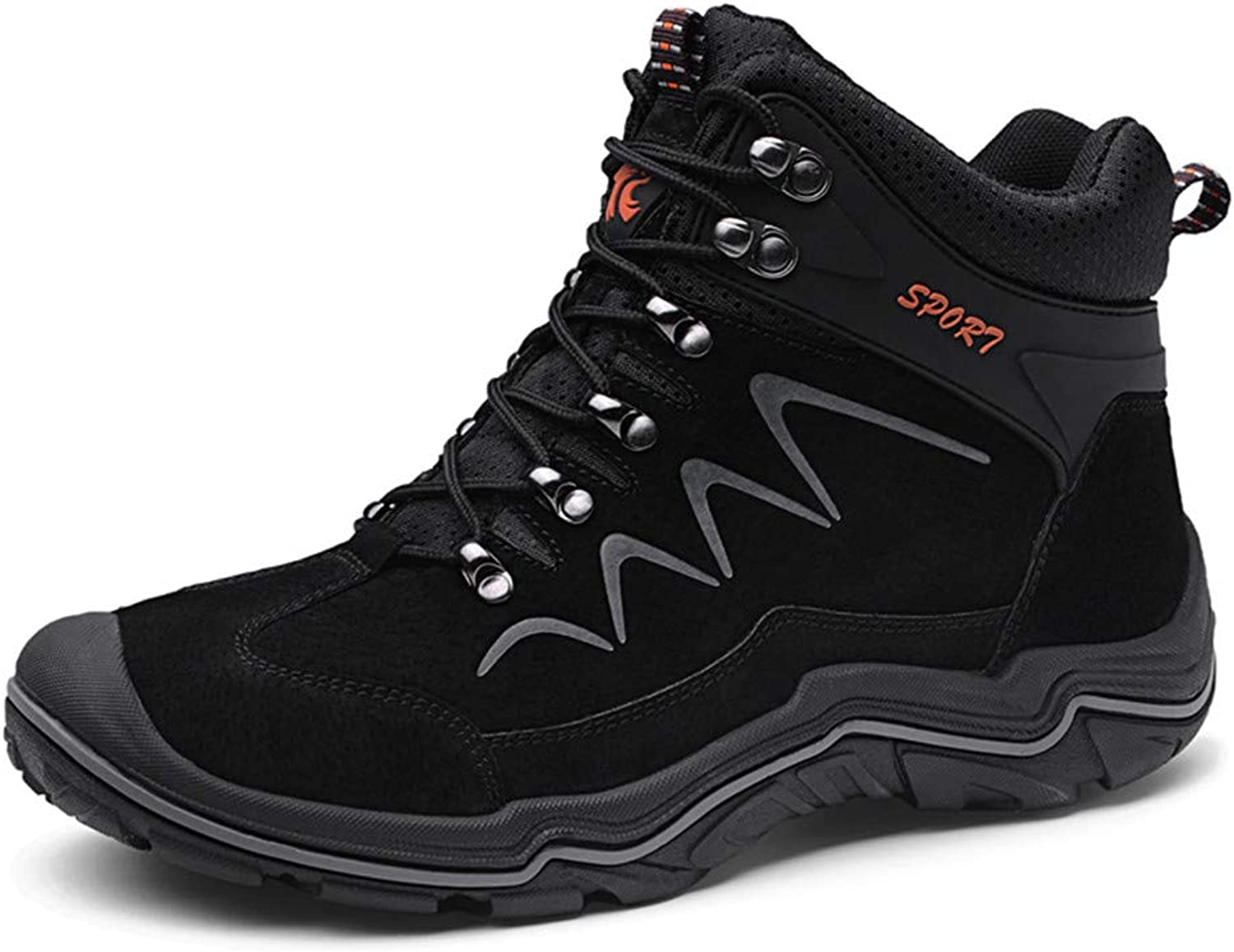 Men's Hiking shoes, Waterproof Walking shoes High Help Breathable Non Slip for Outdoor Sports Trekking Travelling Climbing,Black,38