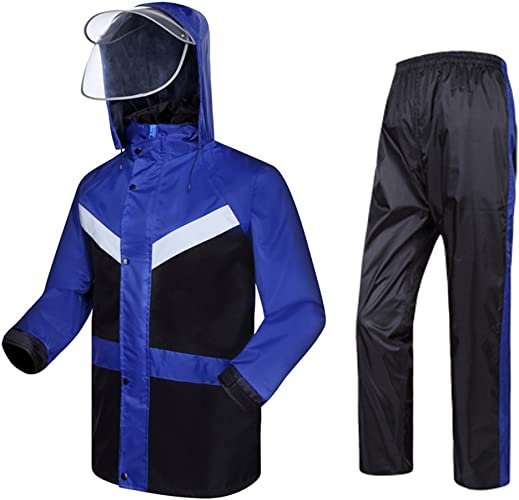 OLDJTK VêteHommests de Pluie pour Les Hommes VêteHommests de Pluie réutilisables Veste de Pluie et Pantalons de Pluie Adultes imperméables au Vent Coupe-Vent à Capuchon Travail en Plein air (Taille   M)