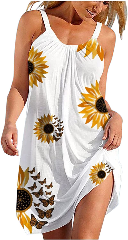 Fankle Summer Dress for Women, Womens Casual Loose Sundress Sleeveless Bohemian Dress Short Mini Beach Party Dress Tank Dress