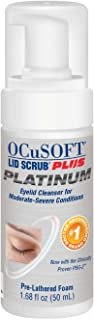 OCuSOFT Lid Scrub Plus Platinum Foaming Eyelid Cleanser 50 Milliters, Extra Strength Cleanser for Irritated Eyelids Associated with Blepharitis, Dry Eye, Meibomian Gland Dysfunction, MGD