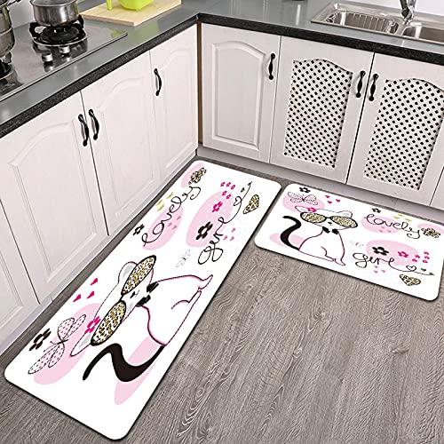 Benle Juegos de alfombras de Cocina,Lindo diseño de Camiseta de Gafas de Gato Blanco,Antideslizantes Lavables de 2 Piezas Alfombra súper Absorbente