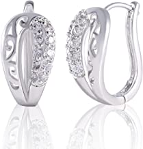 Yves Renaud Unique U Shaped White Gold Plated Hoop Earrings with Sparkling White Sapphires Crystal Set - Nickel Free Hypoallergenic Pave Fashion Jewelry for Women