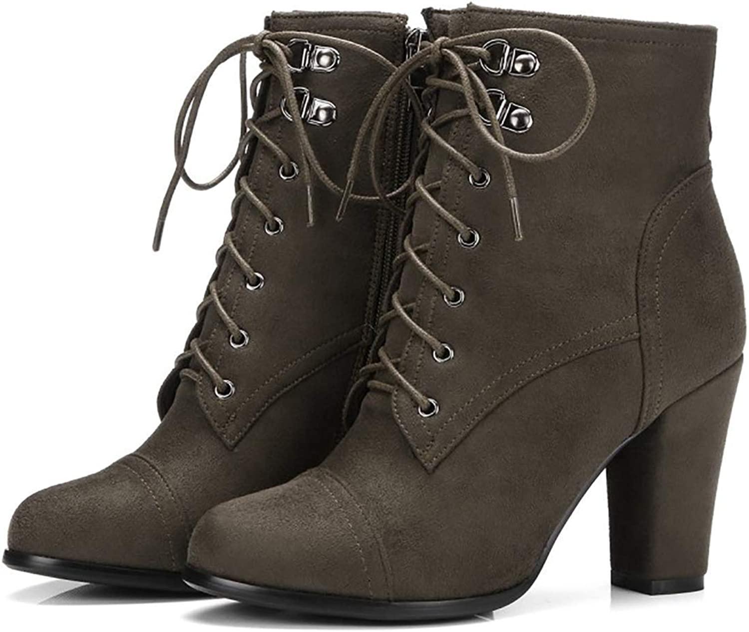 Anke Martin Boots Women Chunky High Heels Lace Up shoes Suede Autumn Booties(-)