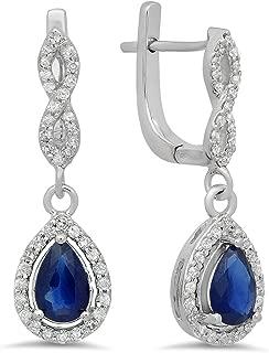14K Each 7X5 MM Pear Gemstone & Round White Diamond Ladies Halo Dangling Drop Earrings, White Gold