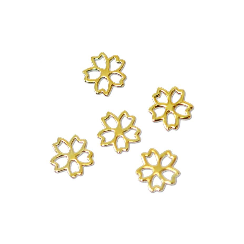 全体アレルギー性論争薄型 メタルパーツ10055 サクラ 2ss 約3mm ゴールド/30p入り