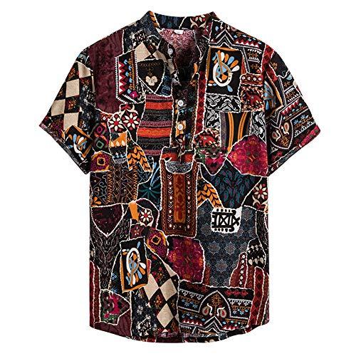 NEWISTAR Herren Hemd Henley Leinenhemd Sommer Hawaii Kurzarm-Hemden Relaxed-fit Ethnische Shirt für lässig, täglich,Yoga zu Strand