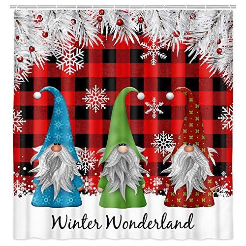 Christmas Shower Curtain for Bathroom, Cute Christmas Gnome Shower Curtains Set Snowflake Red Black Plaid Xmas Bathroom Decor Waterproof Fabric Bathroom Curtains with 12 pcs Hooks