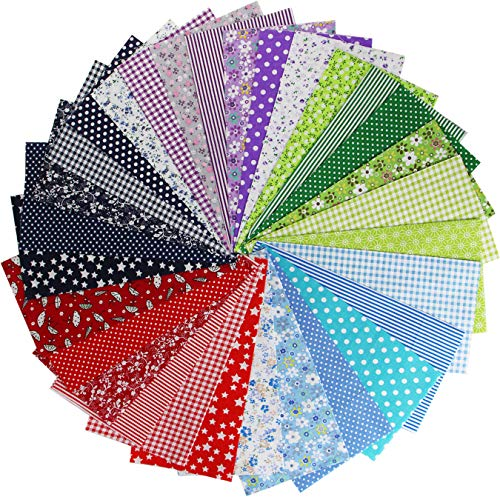 aufodara Lot de 30pcs Patchwork Coton Tissu DIY Fait à la Main en Tissu à Coudre Quilting Designs Différents 25 x 25 cm (Rouge, Navy Blue, Vert, Violet, Bleu - 30pcs)