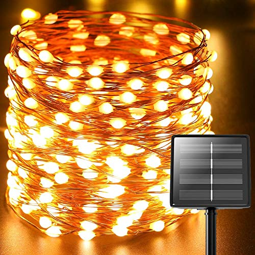 220LED Super Bright Solar Fairy Lights, Litogo 72FT Solar Powered String Lights Waterproof Garden Lights Copper Wire Firefly Lights 8 Modes for Christmas Trees Party Outdoor Decorations (Warm White)