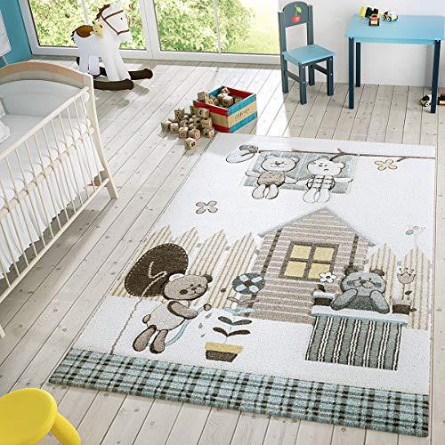 T&T Design Kinder Teppich Moderner Spielteppich Teddy Welt Pastell Töne In Blau Creme, Größe:120x170 cm