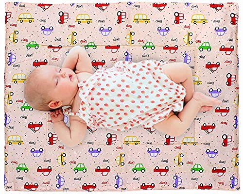 MOM CARE Baby's Cotton Waterproof Nappy Changing Mat/Urine Sheet for New Born Babies.(Red, 0-6 Months) -Pack of 2