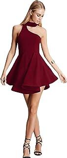 ADDYVERO Women's Black One Shoulder Assymetric Choker Neckline Dress