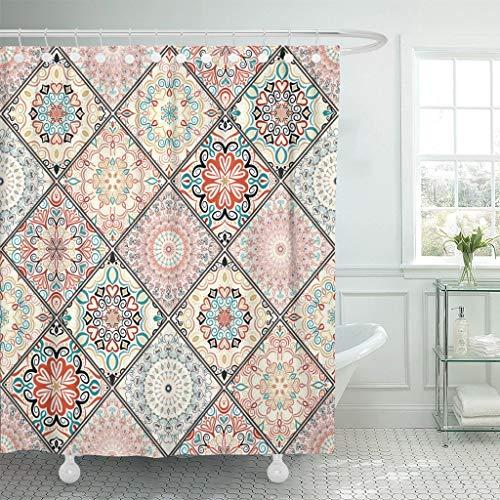 JOOCAR Design-Duschvorhang, orientalisches buntes Blumenmuster, Patchwork-Mandala, Boho-Chic, reichhaltig, wasserdichter Stoff, Badezimmerdekor-Set mit Haken