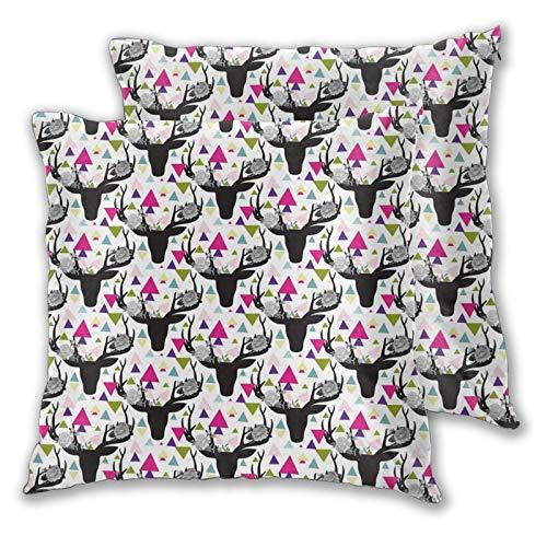FULIYA Fundas de almohada decorativas de 2 piezas geométricas coloridas de fondo con siluetas de cabeza de animal oscura con cuernos, funda de cojín de 55,8 x 55,8 cm para el hogar, sofá o dormitorio