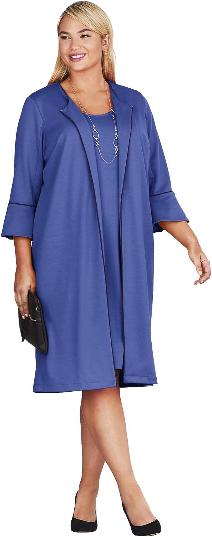 Jessica London Womens Plus Size Bell Sleeve Ponte Jacket Dress