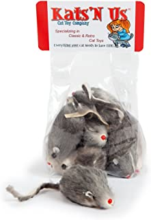 Kats'N Us Real Rabbit Fur Mouse Cat Toy - 10 Pak Rattle Sound
