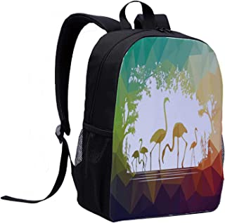Wildlife Decor College Backpack,Modern Flamingo Figures in Digital Art with Polygonal Featured Shadow Effects for Picnic,12″L x 5″W x 17″H