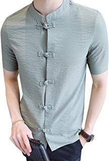 GAGA Men Chinese Style Stand Collar Linen Short Sleeve Button Down Frog Buckle Shirts Lingt Green S