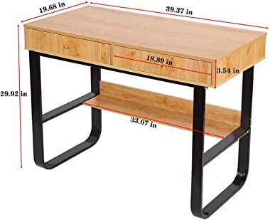 Floenr 47IN Laptop Computer Desk with 2 File Drawer, Home Office Desk with Bookshelf, Writing Table Wood Executive Desk, Writ