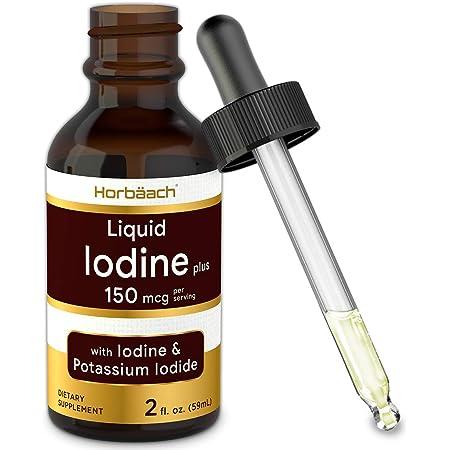 Liquid Iodine Solution Drops   2 fl oz   150 mcg   Iodine & Potassium Iodine Supplement   Vegetarian, Non-GMO, Gluten Free Liquid Tincture   by Horbaach