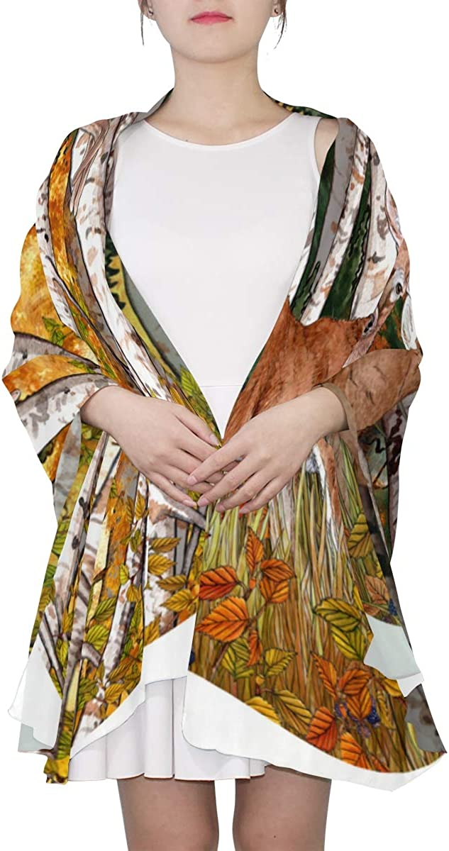 Beautiful Birch Forest Unique Fashion Scarf For Women Lightweight Fashion Fall Winter Print Scarves Shawl Wraps Gifts For Early Spring