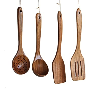 Wooden Cooking Utensils Kitchen Utensil, NAYAHOSE Natural Take Wood Kitchen Utensils Set - Nonstick Hard Wooden Spatula and Wooden Spoons