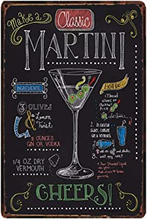 How To Make A Classic Martini, Retro Embossed Metal Tin Sign, Wall Decorative Sign Cocktail 12