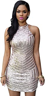 Women's Sexy Sparkling Sequin Sleeveless Bodycon Stretchy Mini Party Dress