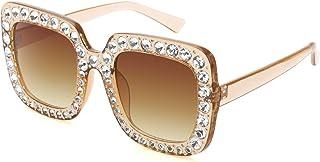 ROYAL GIRL Elton Square Rhinestone Sunglasses Oversized...
