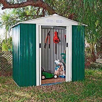 Caseta Cobertizo de Metal verde para Jardin Tools: Amazon.es: Jardín
