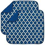 Alfombrilla de secado de microfibra para platos de cocina, escurridor absorbente, escurridor para cristal, plato y taza, 40 cm x 46 cm, 2 unidades Soporte azul