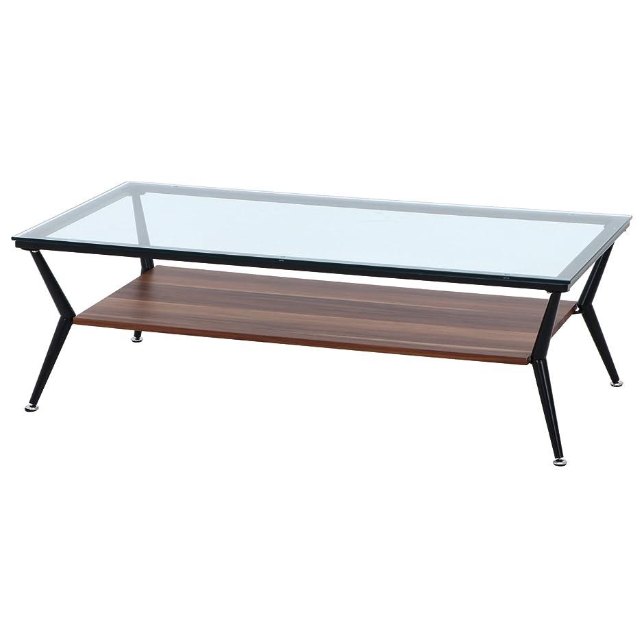 地雷原展開する服不二貿易 ディスプレイ ローテーブル 幅120cm ダークブラウン 強化ガラス クレア 96227