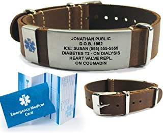 Top Grain Leather Nato Medical ID Bracelet. Incl. 5 lines custom engraving - DARK BROWN
