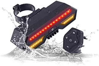 LEIWOOR USB Rechargeable Bike Taillight, Bicycle Turn Signal Light, Wireless Remote Control Intelligent Waterproof Rear Bi...