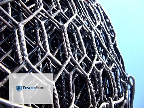 Fencer Wire 19 Gauge Black Vinyl Coated Hot Dip Galvanized Hex/Poultry Netting Mesh Size 3/4' (4 ft. x 150 ft.)