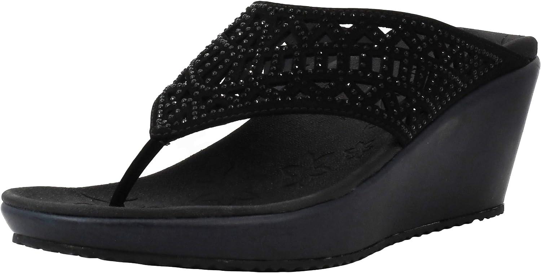 Skechers Women's Thong New item Wedge 4 years warranty Sandal
